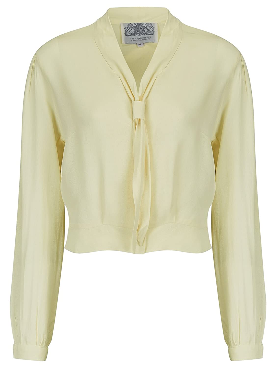 1940s Blouses and Tops 1940s Authentic Vintage Inspired Bonnie Blouse with Long Sleeve in Cream by The Seamstress of Bloomsbury £39.00 AT vintagedancer.com
