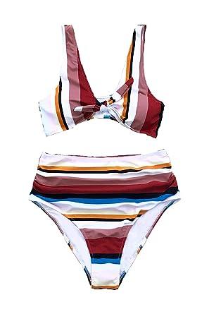 38101c0c5c CUPSHE Women s Lost in The Dream High-Waisted Bikini Set Beach Swimwear  Bathing Suit (