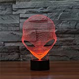 Prelight Optical Illusion 3D Pop-eyed Alien Shape LED Decorative light 7 Colors Changing Hologram Lamp Acrylic Night Light With Touch Switch Luminaria for Hotel/Room/Coffee bar/bar/KTV