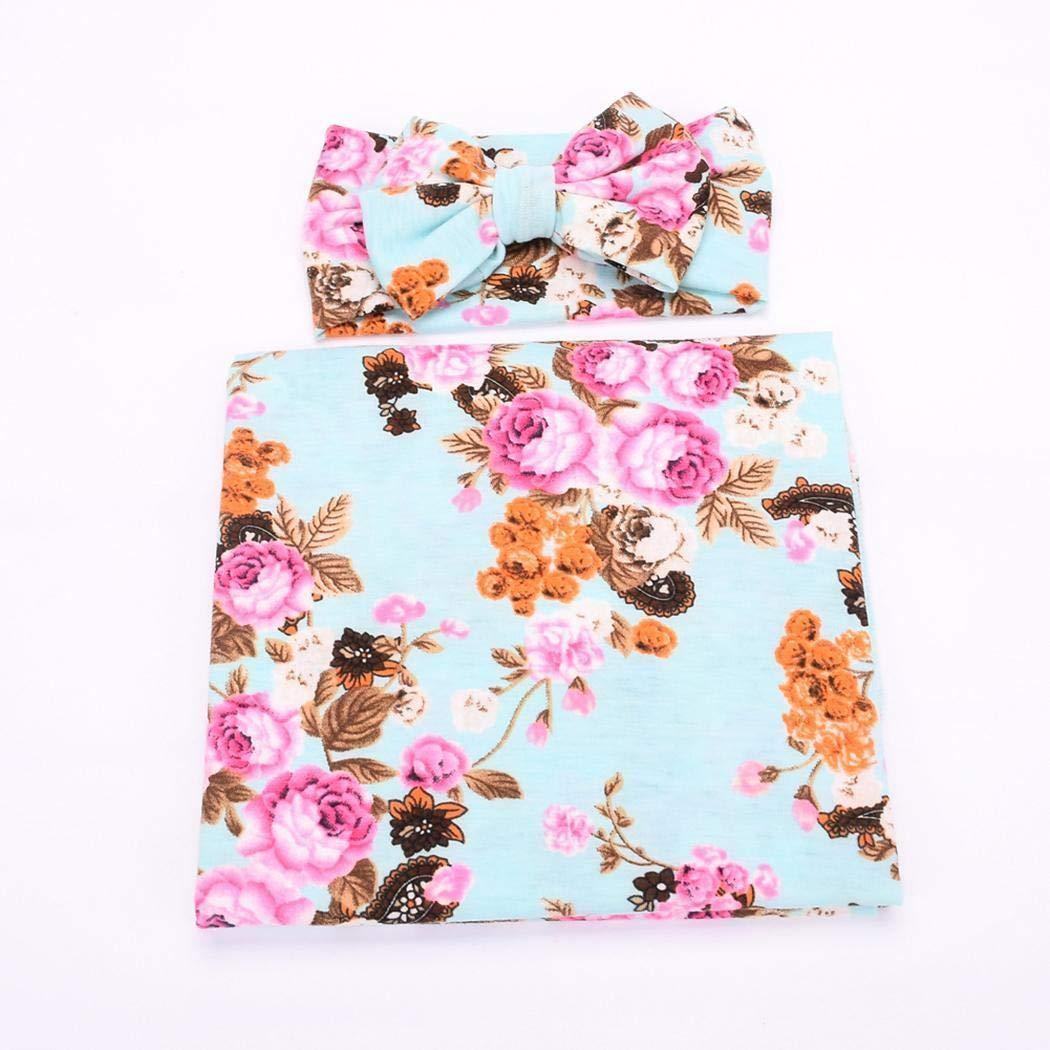 Loukou Newborn Baby Sleep Floral Swaddle Blanket and Bow Headband Set Receiving Blankets by loukou