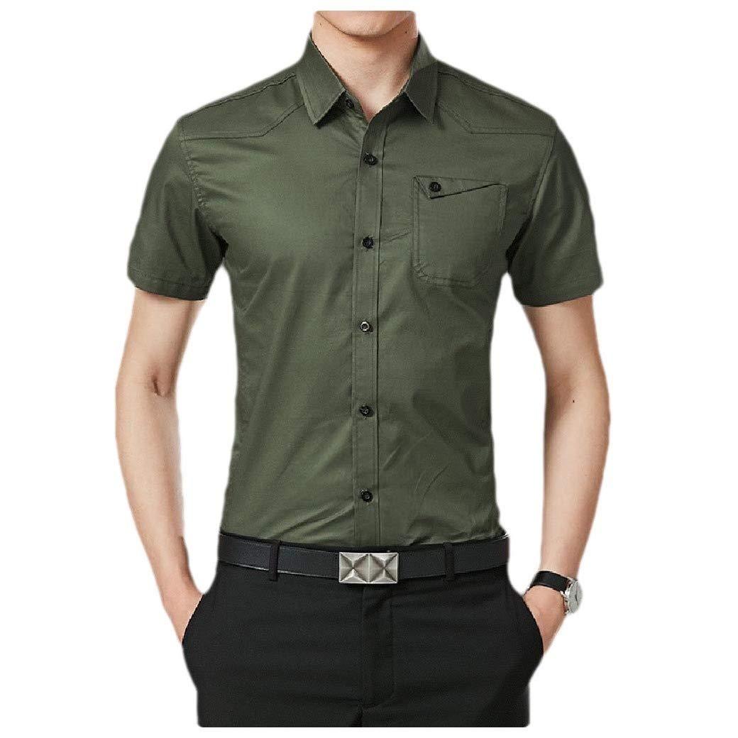 Winwinus Mens Slim Fit Cotton Short Sleeve with Pocket Tops T Shirt Blouse