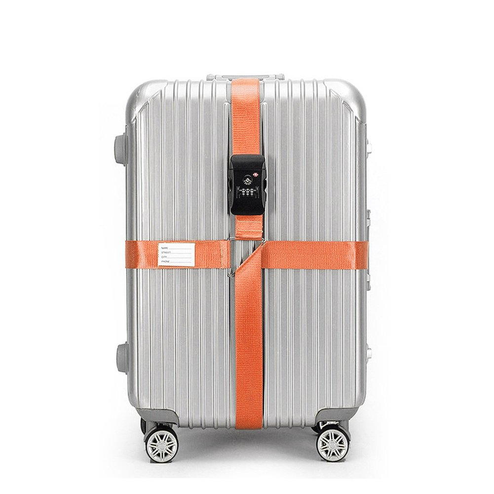 BlueCosto Orange TSA Approved Luggage Straps Cross Suitcase Strap Travel Bag Belts