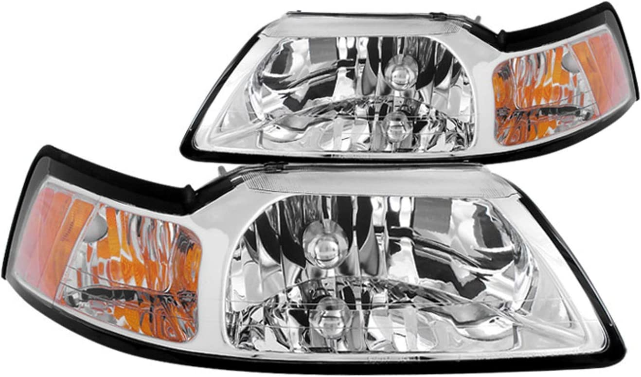 ANZO 121192 Set of 2 Black Headlights w//Corner /& Parking Light for Mustang