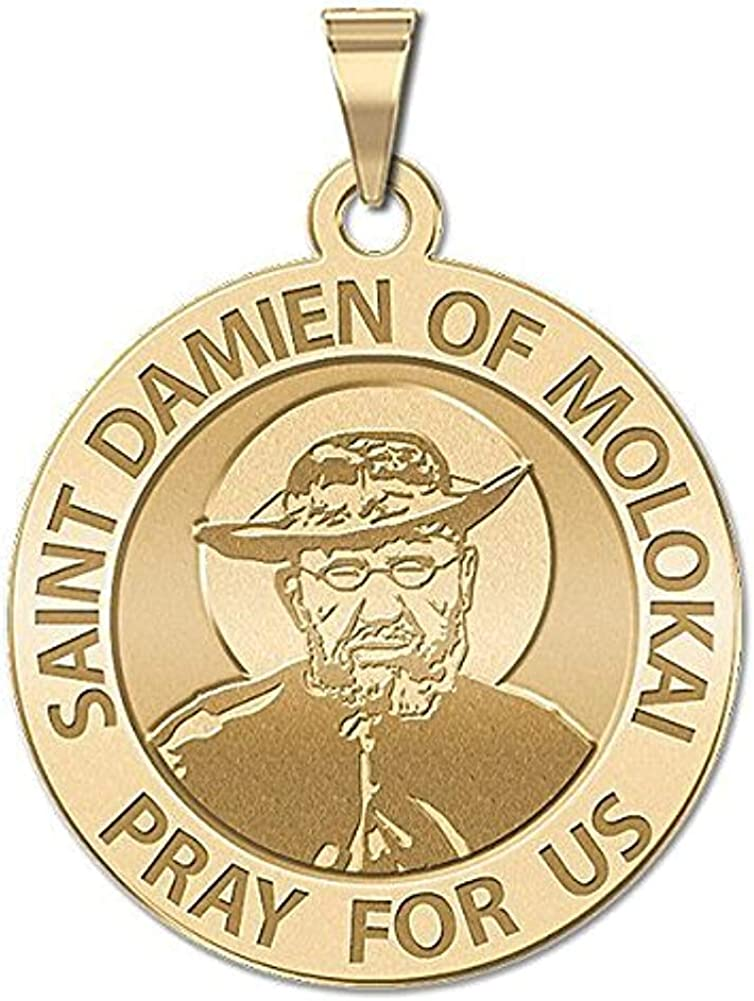 1 Inch X 1 Inch Solid 14K Yellow Gold PicturesOnGold.com Saint Damien of Molokai Religious Medal
