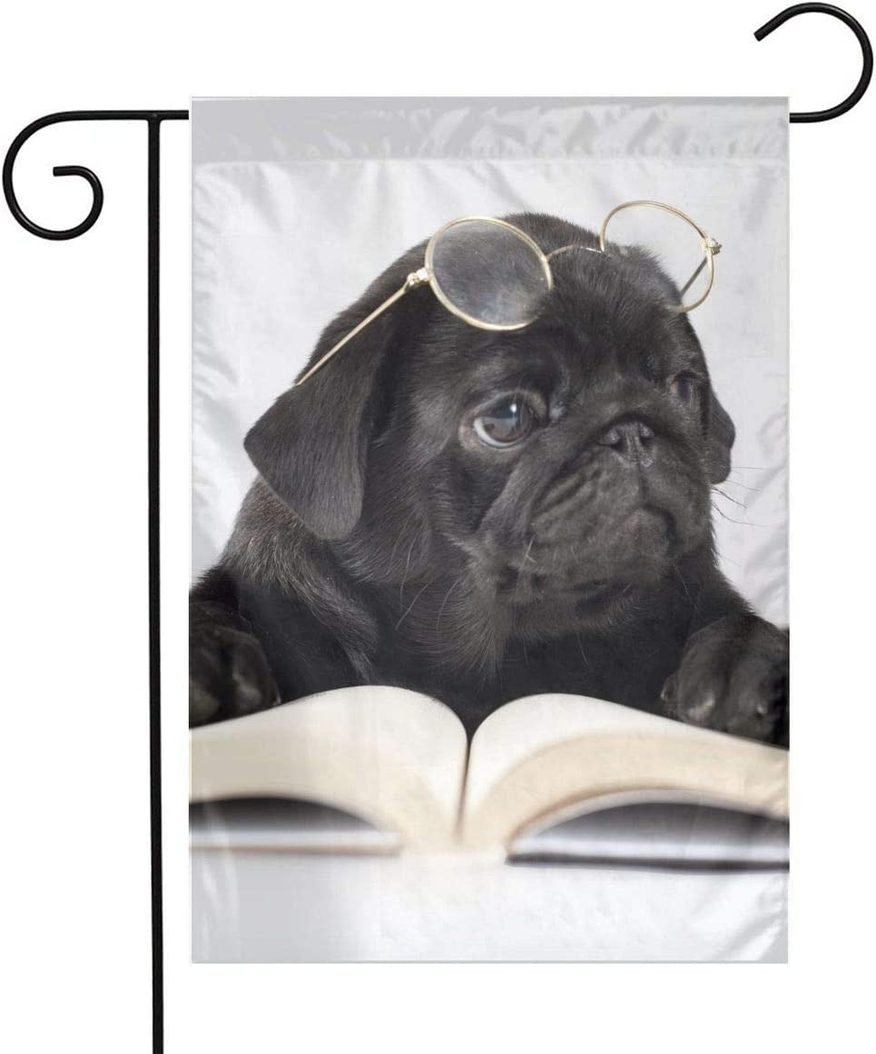Black Pug Reading Garden Flags Home Indoor & Outdoor Holiday Decorations,Waterproof Polyester Yard Decorative for Game Family Party Banner