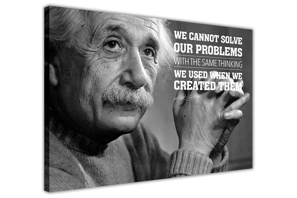 Albert Einstein Leinwandposter mit einem Zitat, canvas holz, schwarz, 09- A0 - 40