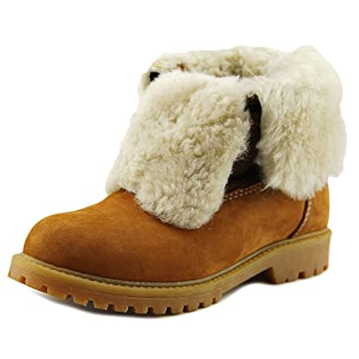 Pegia Kids Shearling Cuff Lace Up Suede Boot