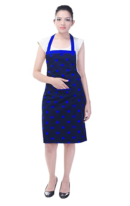 Switchon Cotton Waterproof Apron with Front Pocket (Blue, Free Size)