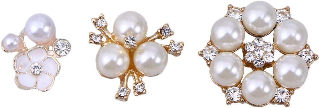 SUPVOX 30pcs Strass Perla abbellimenti Perla Finta Bottoni Flatback Pulsanti di Fiori di Cristallo per Artigianato Fai da Te Decorazione della Festa Nuziale