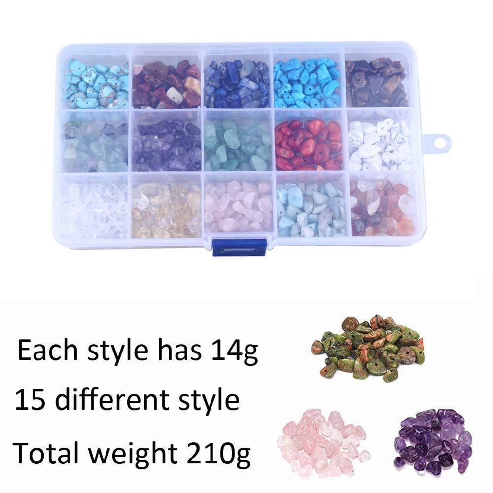 Juego de 15 cuentas de piedras preciosas de colores para hacer collares y pulseras