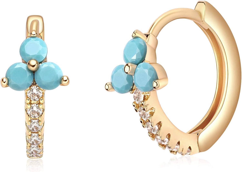 Mevecco Gold Huggie Hoop Earrings for Women 14K Gold Plated Turquoise Hoop Earrings Cuff Earrings Huggie Stud Gold Sleeper Earrings for Women