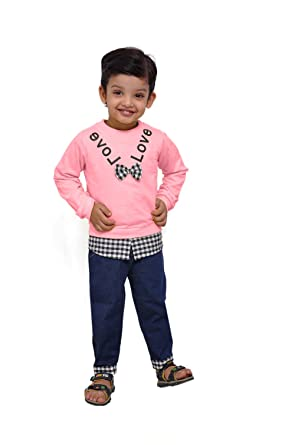 bfe30b46b99 Kids Party & Casual Wear Bow Style T-Shirt & Jeans Pants for Boys ...
