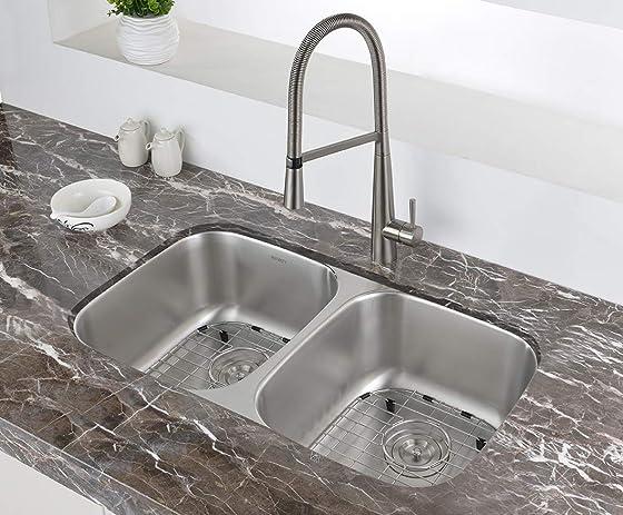 Ruvati 29-inch Undermount 50 50 Double Bowl 16 Gauge Stainless Steel Kitchen Sink – RVM4301 Renewed