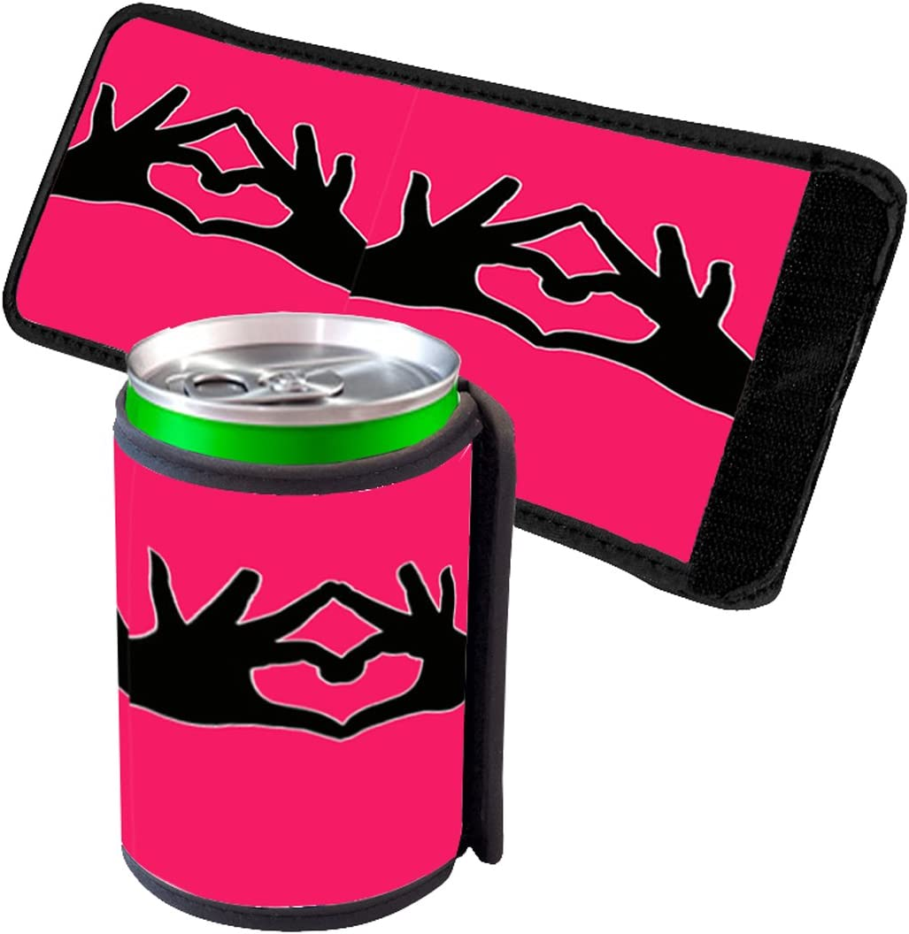 Sign Language Love Heart - Insulated Neoprene Beverage Can Beer Bottle Drink Cooler Sleeve