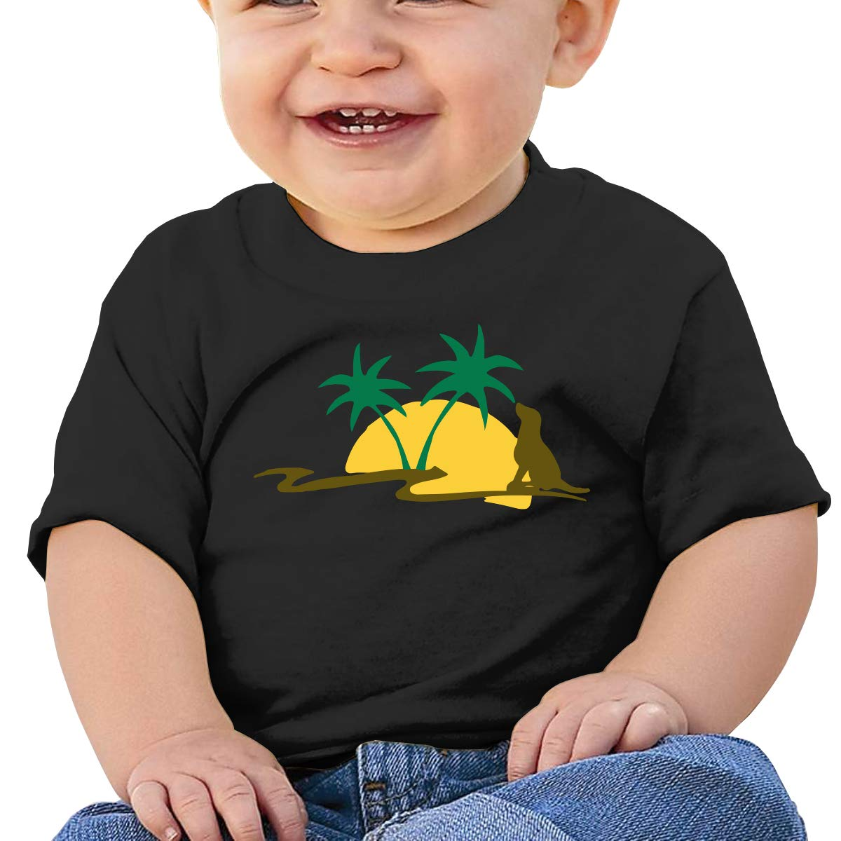 Sunset Dog Baby Boy Newborn Short Sleeve T Shirts 6-24 Month Cotton Tops