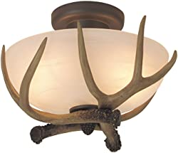 Craftmade X1611-EB 2 Light Semi Flush Mount Fixture with Alabaster Glass with Antler Accents, European Bronze