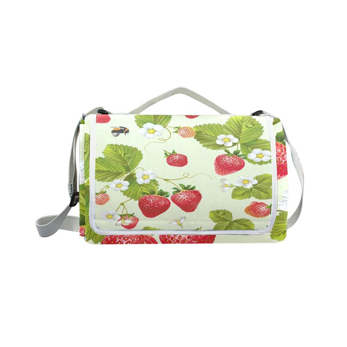 Jeansame Cute Strawberry Tea Fruit api Fiori Floreale Picnic Mat Coperta da Picnic, da Campeggio per Outdoor Viaggio Yoga Escursionismo Impermeabile Portatile Pieghevole 150 x 145 cm