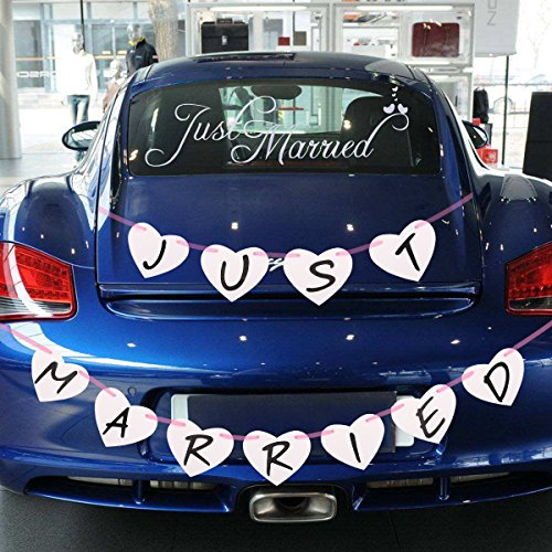 Just Married Bunting Banner and Just Married Car Window Clings,Perfect Wedding Wedding Bridal Shower Bachelorette Party Decorations Photo Props Car Decoration Wedding (Decorations For Cars)