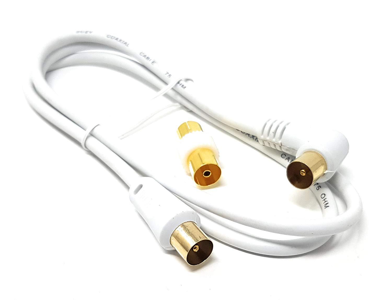MainCore - Cable coaxial largo de ángulo derecho para antena de TV/AV con acoplador 1 m blanco