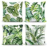 """Whaline 4 Pieces Tropical Leaves Pillow Covers, Cotton Linen Decorative Summer Green Leaf Throw Cushion Cover for Sofa Bed Car Couch,(18""""x 18"""")"""