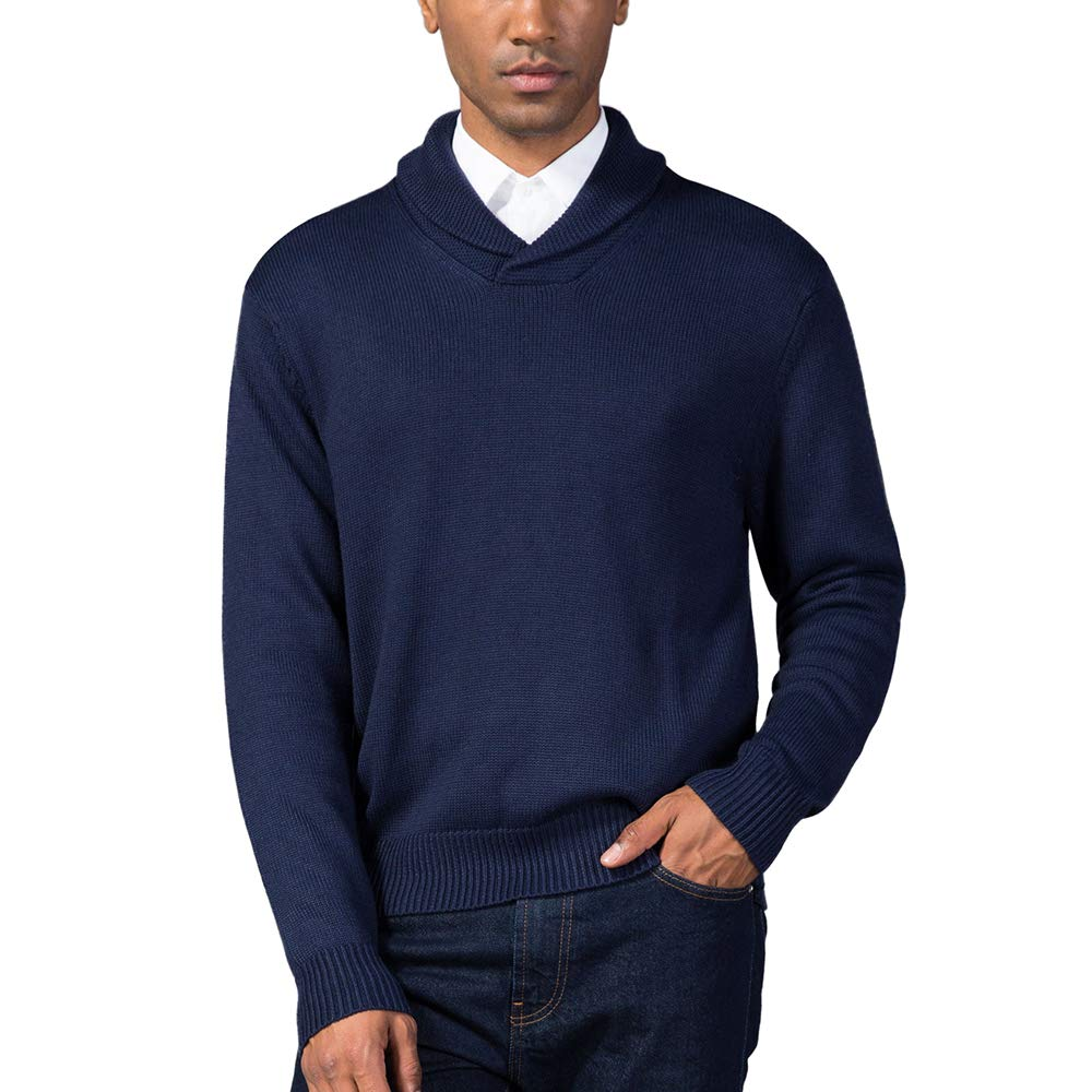 Kallspin Mens Relaxed Fit Shawl Collar V Neck Sweater Merino Wool Blend