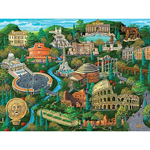 Bits and Pieces - 300 Large Piece Jigsaw Puzzle for Adults - Rome City View - 300 pc Colosseum Jigsaw by Artist Joseph Burgess