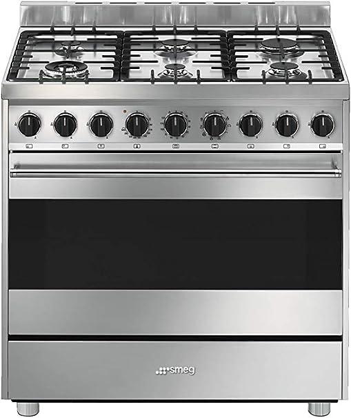 Smeg B91gmxi9 Cucina Inox Piano Cottura 6 Fuochi E Forno Elettrico Termoventilato 90 X 60 Cm Amazon It Casa E Cucina