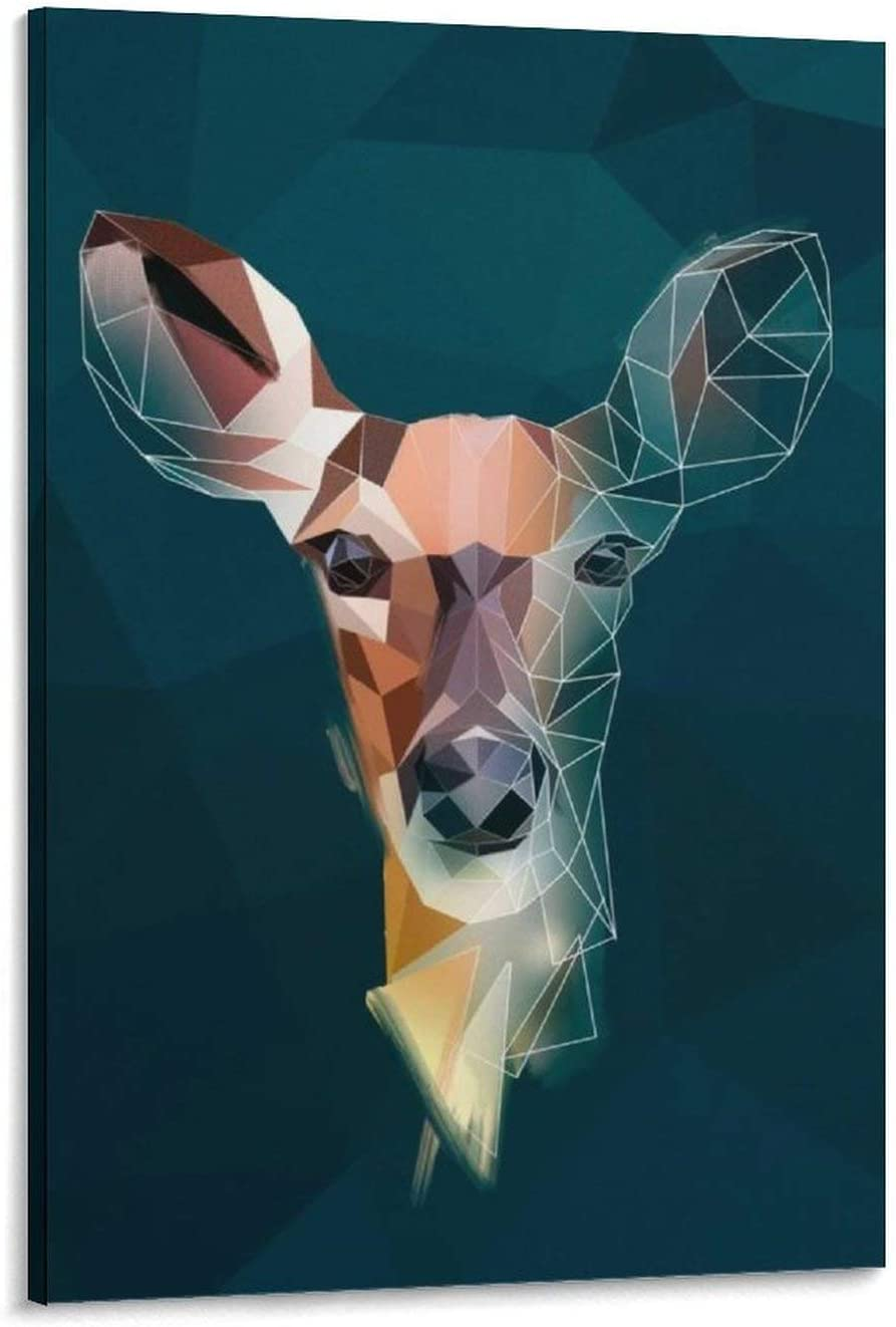 Arts Hand Painted Canvas Wall Art for Living Room Deer - Sketch Painting Modern Abstract Animal Pictures for Home Decoration Frame 12×08inch(30×20cm)