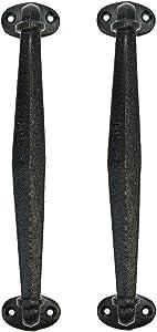 Sungmor Cast Iron Heavy Duty Barn Door Handles - 2PC Pack & Dark Brown & 27CM/10.6Inch - Vintage & Decorative Door Pull Handle - Home Hallway Closet Passage Garden Gate Shed Cabinet Door Grab Handle