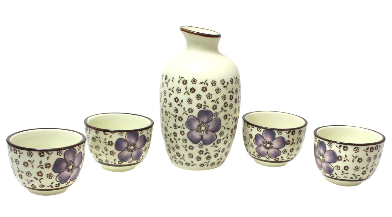 Ceramic Japenese Sake Set - 5 Piece Purple Flower