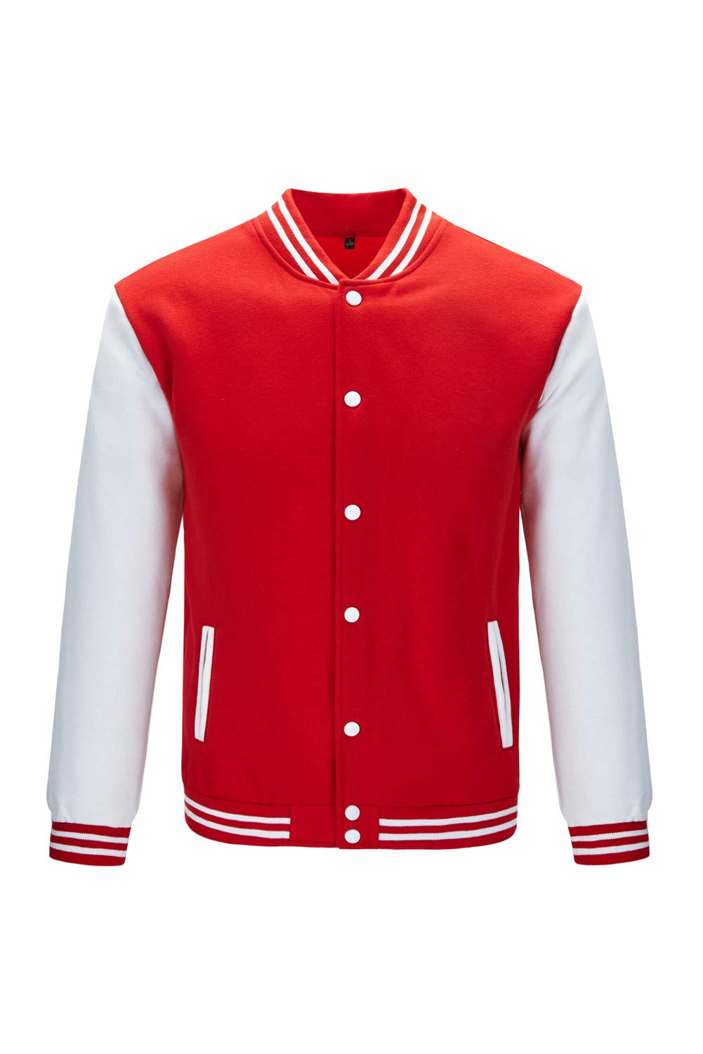 TRIFUNESS Varsity Jacket Letterman Jacket Baseball Jacket with Long Sleeve Banded Collar Size L Red by TRIFUNESS