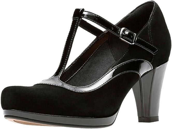 Clarks Scarpe di Ampia Corte di Coro Passo Donna T Bar 6 D (M) UK39.5 EU Nero Combi
