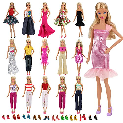 Accessories Barbie Clothes Doll (Barwa Lot 15 items = 5 Sets Fashion Casual Wear Clothes/outfit with 10 Pair Shoes for Barbie Doll Xmas Gift)