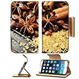 Luxlady Premium Apple iPhone 6 iPhone 6S Flip Pu Leather Wallet Case IMAGE ID: 26149252 Fragrant spices coffee and reed sugar on a wooden background