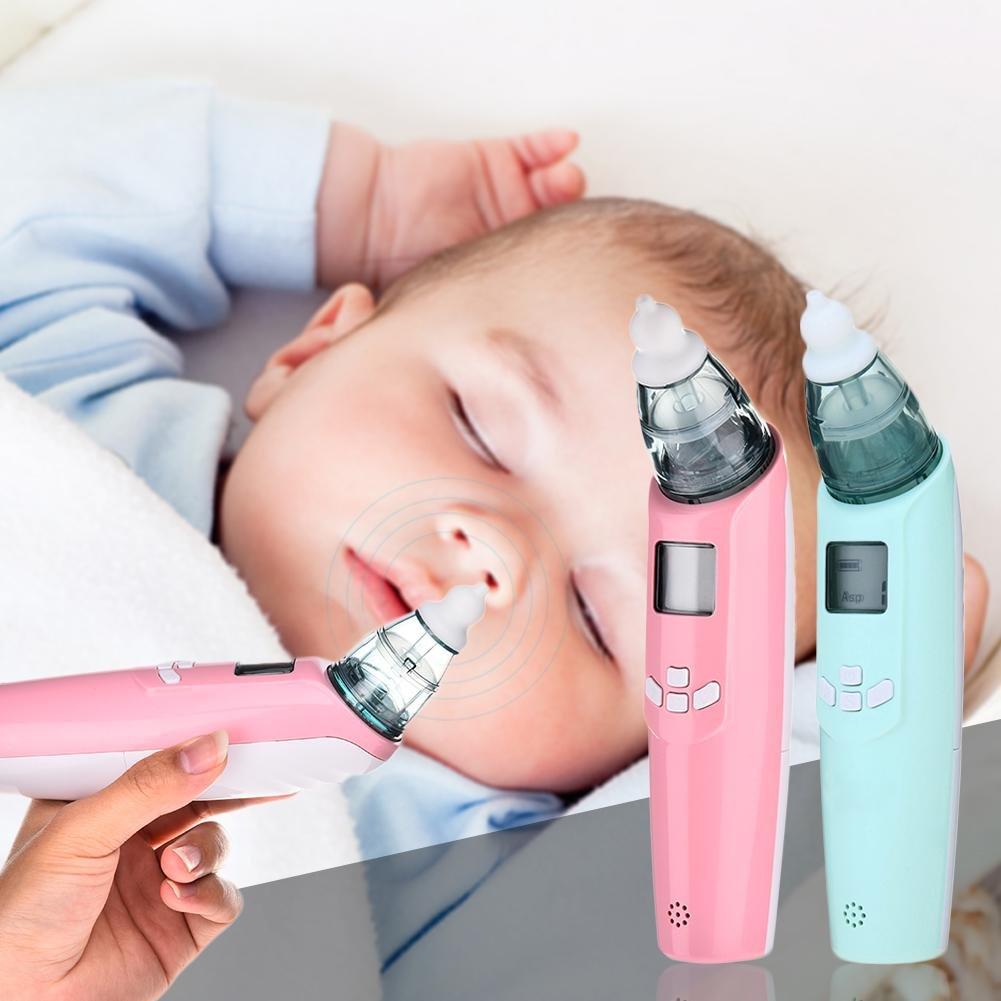 xluckx - Aspirador nasal eléctrico para bebés – seguro higiénico y rápido a pilas, limpiador de nariz con 3 tamaños de puntas de nariz y succionador de nudo oral para recién nacidos y niños pequeños, Unisex bebé, rosa, 18.5*4*4.5CM