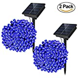 Solar Powered String Lights - Dolucky 72 ft 200 LED Solar Fairy Lights - Waterproof Christmas String Lights for Outdoor Garden Party Wedding Decoration (Blue - 2 Pack)