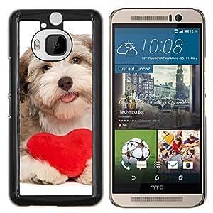 KLONGSHOP // Cubierta de piel con cierre a presión Shell trasero duro de goma Protección Caso - Havanese de San Valentín del corazón del amor del perro de perrito - HTC One M9Plus M9+ M9 Plus //