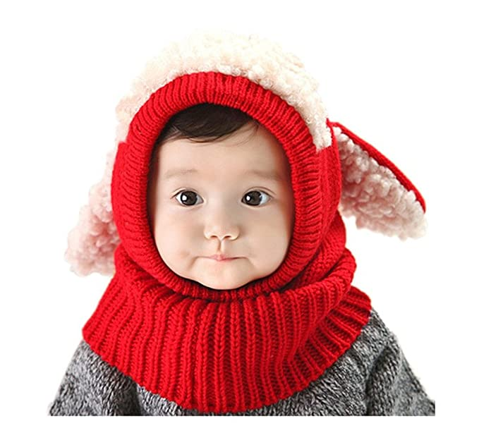 1fbb4c1d034 Amazon.com  ZEYI Winter Baby Girl Boy Hat and Scarf Joint with Dog Style  Crochet Knitted Caps  Clothing