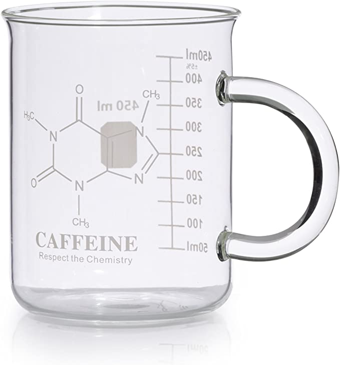 Amazon Com Caffeine Beaker Mug Caffeine Molecule Mug Chemistry Mug 16 Oz Borosilicate Glass Coffee Mugs With Handle And Measuring For Coffee Latte Tea Or Hot And Cold Beverage Tea