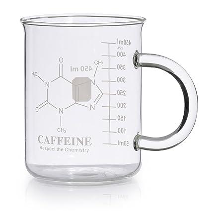 Caffeine Beaker Mug, Caffeine Molecule Mug - Chemistry Mug 16 oz  Borosilicate Glass Coffee Mugs