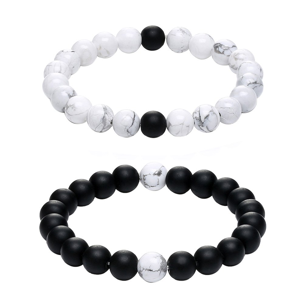 GAGAFEEL Long Distance Relationship His and Hers Black Matte Agate & White Howlite 8mm Beads Couple Friendship Bracelet (2# 8mm)