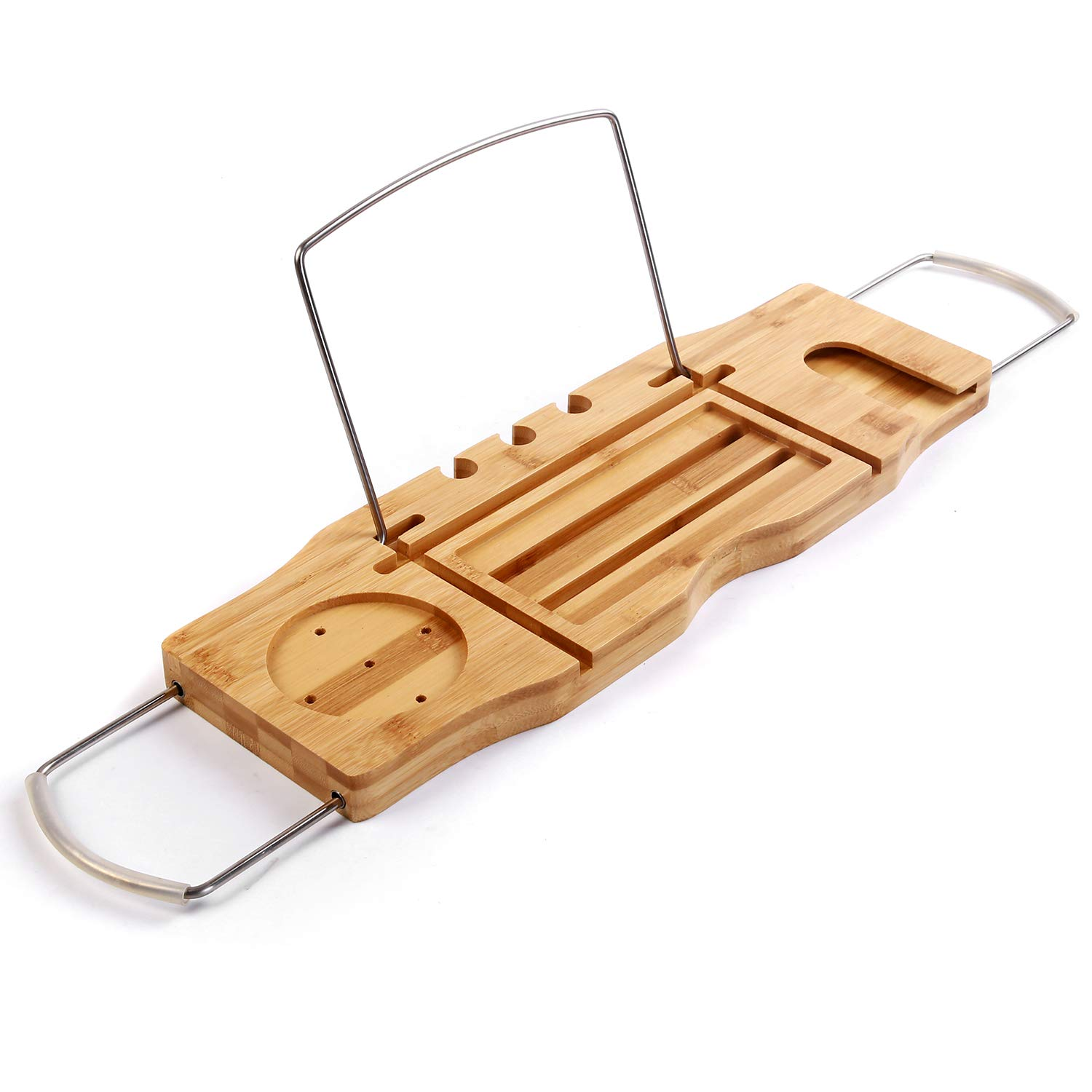 Utoplike Extendable Bamboo Bathtub Caddy Tray Bathtub Rack with Stainless Steel Arms Adjustable Book Holder and Slots for Wine Ipad Phone SafeHouseware