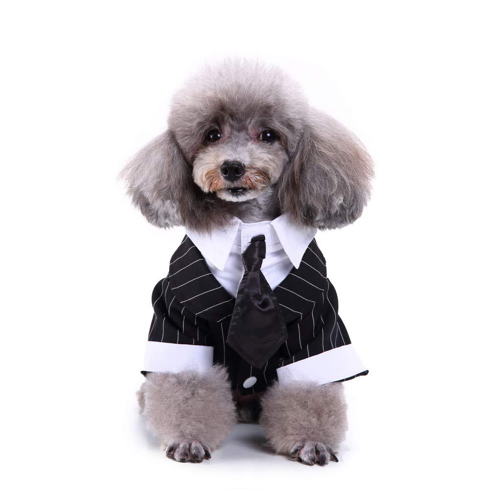 Bow Tie L(Neck  13.8\ Bow Tie L(Neck  13.8\ Vevins Dog Tuxedo Costume with Black Bow Tie, Pet Stripe Formal Wedding Suit, Prince Party Clothes