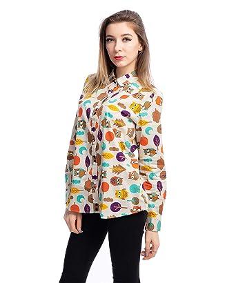 d610cb28267 ERZTIAY Women s Blouses Casual Long Sleeve Work Button Down Dress Hawaiian Shirts  Tops(Beige Owl