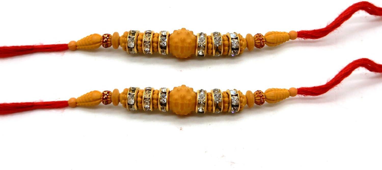 Thread 3 Ring Stone /& 6 Bids Raksha bandhan Gift for your brother,Color Vary and Multi Design Rakhi IndiaBigShop Set of Two Rakhi