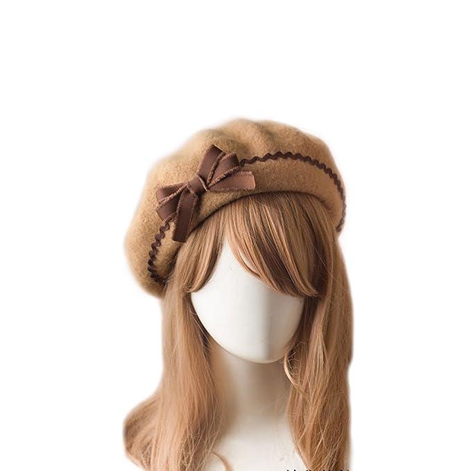 f4fa856953805 BLESSI Fashion Wool Pom Pom Bowknot Cute Beret Hats Pink Elegant Warm Soft  Chic Lolita Cap