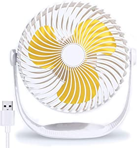 USB Desk Fan | Small Ultra Quiet Desk Fans|360° Adjustment For Better Cooling 3 Speeds |Personal Portable Fan for Home Office Desktop (White-8inch)