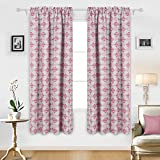 Cheap Deconovo Room Darkening Curtain Thermal Insulated Blackout Curtains Rod Pocket Curtains with Yarn Ball Pattern for Bedroom 52 By 84 Inch Pink 2 Panels
