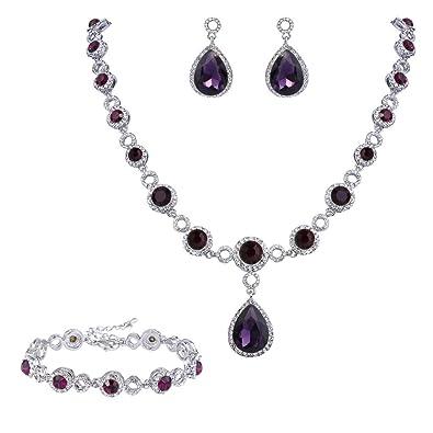 Clearine Women's Wedding Bridal Teardrop CZ Infinity Figure 8 Y-Necklace Tennis Bracelet Dangle Earrings Set bzHQy