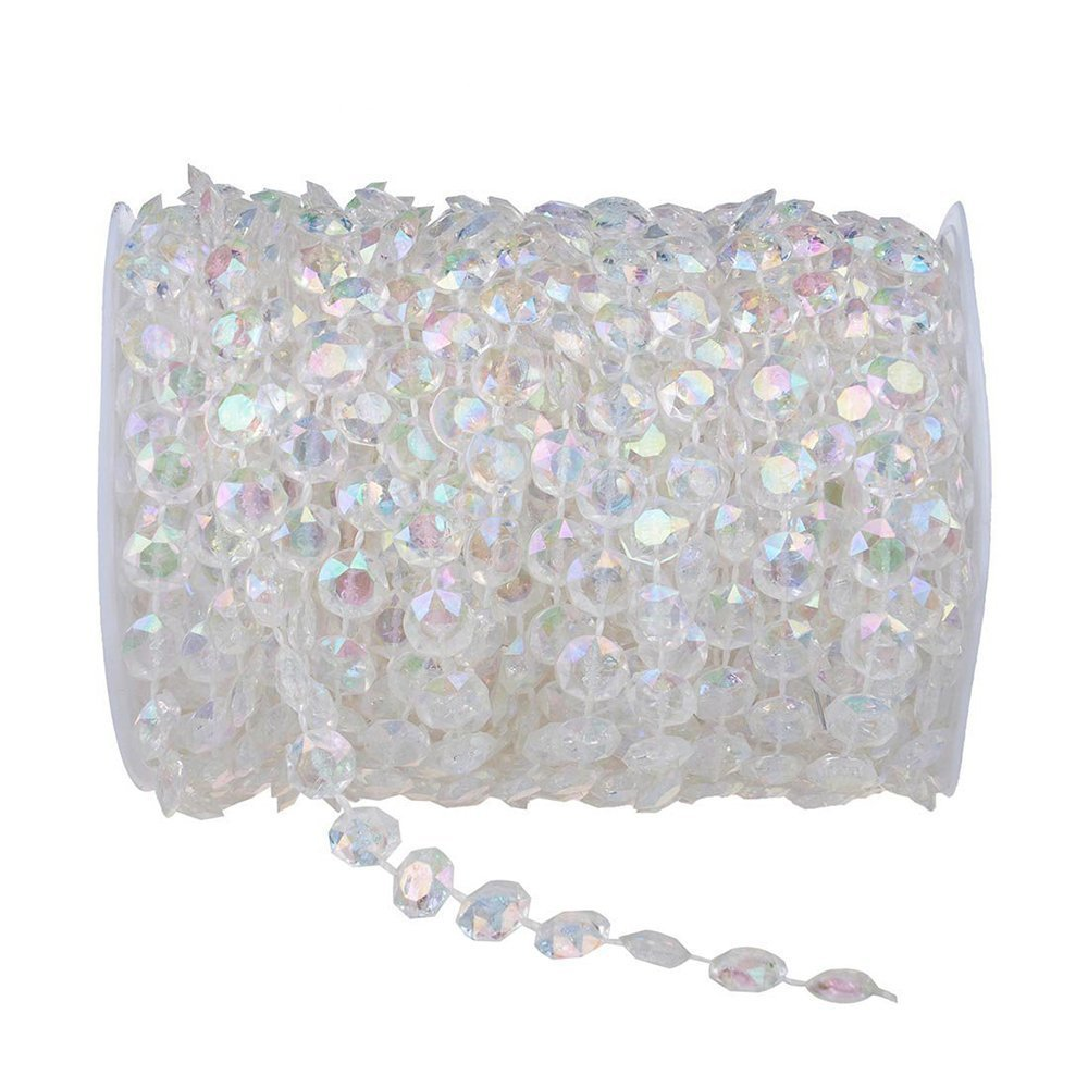 Amazon.com: HYBEADS 99 ft Clear Crystal Like Beads by the roll ...